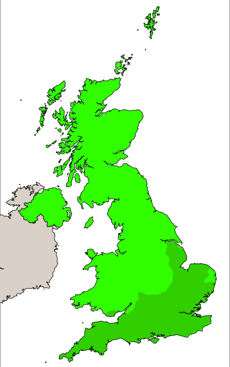 UK pollution forecast map for Saturday (24th August 2019)